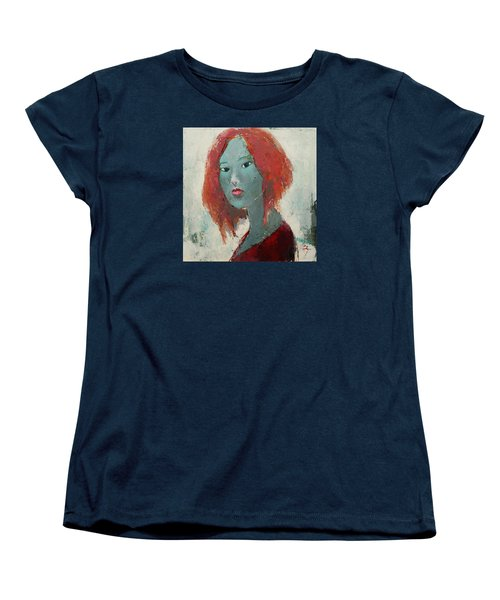 Women's T-Shirt (Standard Cut) featuring the painting Self Portrait 1502 by Becky Kim