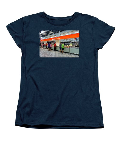 Women's T-Shirt (Standard Cut) featuring the photograph Self-service Restaurant On A Sidewalk In Kaohsiung City by Yali Shi