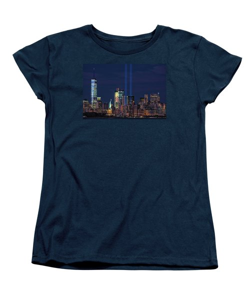 Women's T-Shirt (Standard Cut) featuring the photograph September 11tribute In Light by Emmanuel Panagiotakis