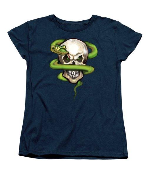 Serpent Evil Skull Women's T-Shirt (Standard Cut) by Kevin Middleton