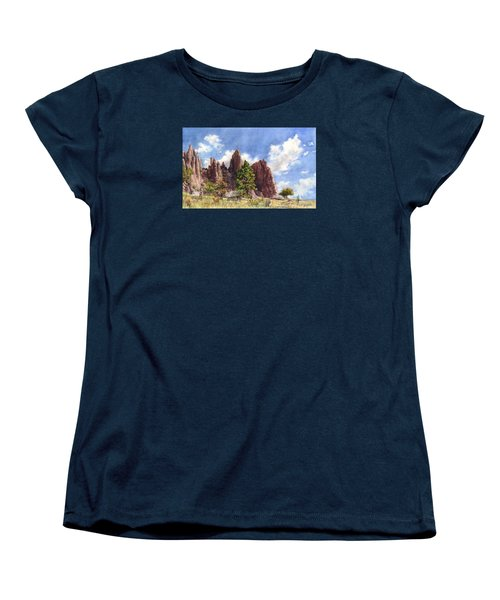 Women's T-Shirt (Standard Cut) featuring the painting Settler's Park, Boulder, Colorado by Anne Gifford