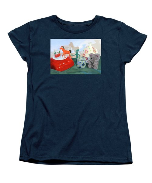 Women's T-Shirt (Standard Cut) featuring the painting Shadows Of The Past by Lynne Reichhart