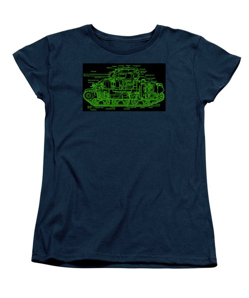 Women's T-Shirt (Standard Cut) featuring the drawing Sherman M4a4 Tank by Robert Geary