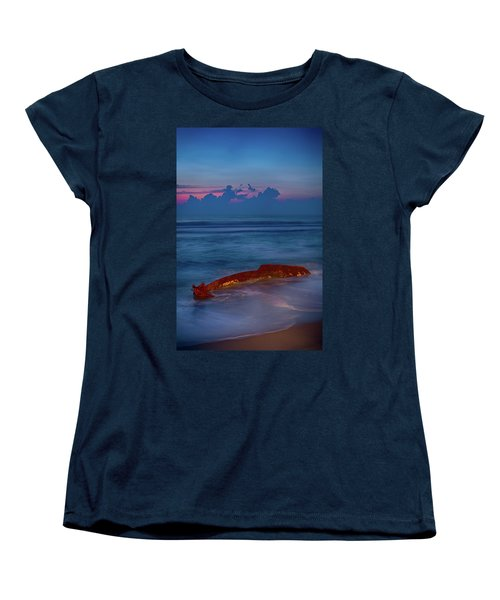 Women's T-Shirt (Standard Cut) featuring the photograph Shipwreck On The Outer Banks The End by Dan Carmichael