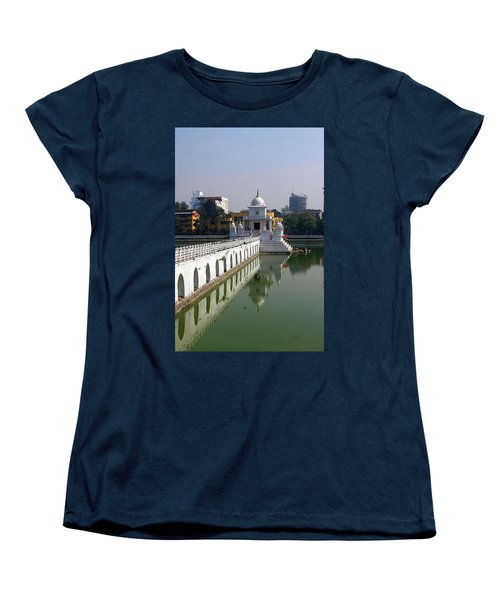 Women's T-Shirt (Standard Cut) featuring the photograph Shiva Temple In Lake Rani Pokharil, Kathmandu, Nepal by Aidan Moran