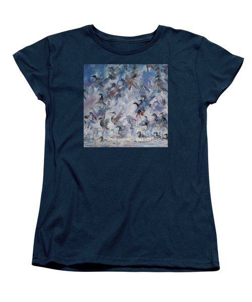Women's T-Shirt (Standard Cut) featuring the painting Shots Fired by Ellen Anthony