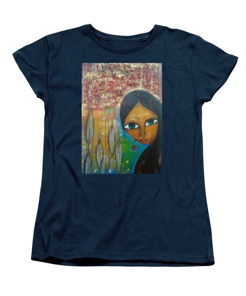 Women's T-Shirt (Standard Cut) featuring the mixed media Shower Of Roses by Prerna Poojara