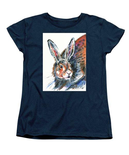 Women's T-Shirt (Standard Cut) featuring the painting Shy Hare by Zaira Dzhaubaeva