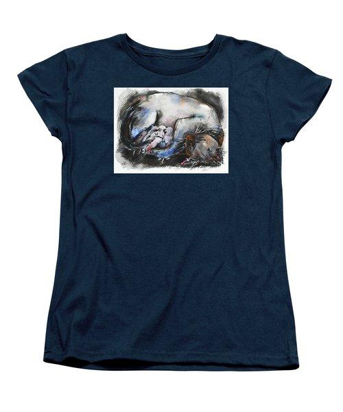 Women's T-Shirt (Standard Cut) featuring the painting Siamese Cat With Kittens by Zaira Dzhaubaeva