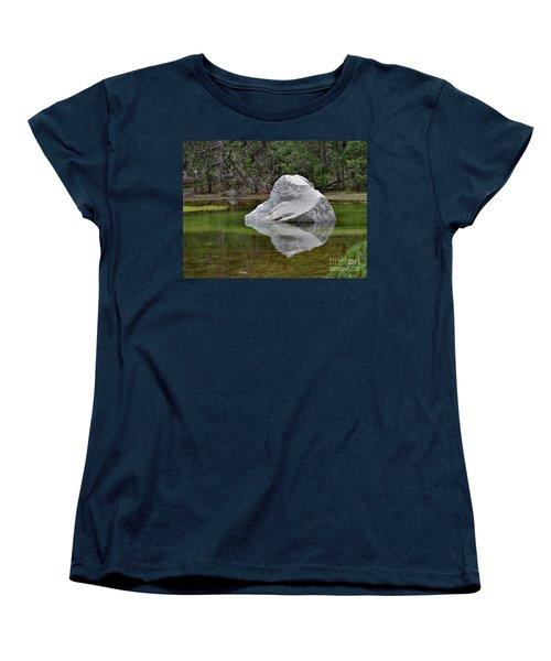 Side View Of A Rock At Mirror Lake Women's T-Shirt (Standard Cut) by Debby Pueschel