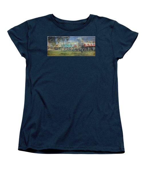 Women's T-Shirt (Standard Cut) featuring the photograph Sidewalk Cafe Venice Ca Panorama  by David Zanzinger