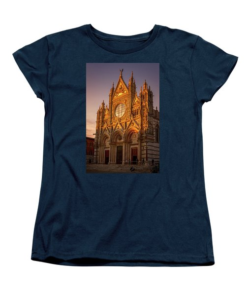 Women's T-Shirt (Standard Cut) featuring the photograph Siena Italy Cathedral Sunset by Joan Carroll