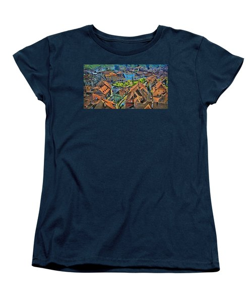 Women's T-Shirt (Standard Cut) featuring the painting Sighisoara From Above by Jeff Kolker