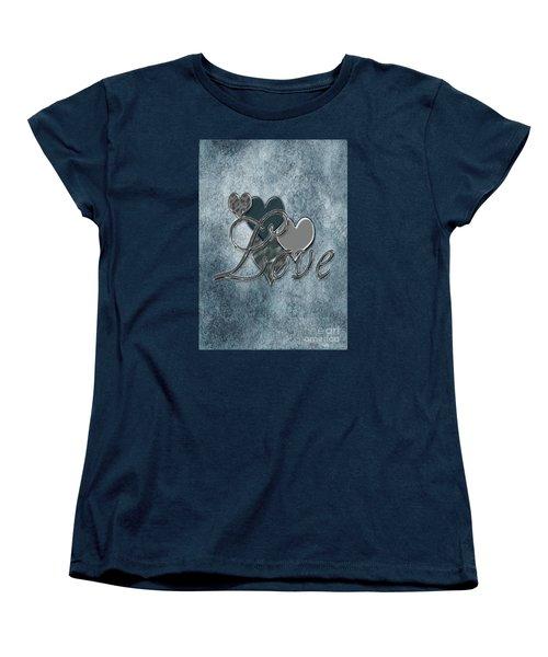 Women's T-Shirt (Standard Cut) featuring the digital art Silver Love by Linda Prewer