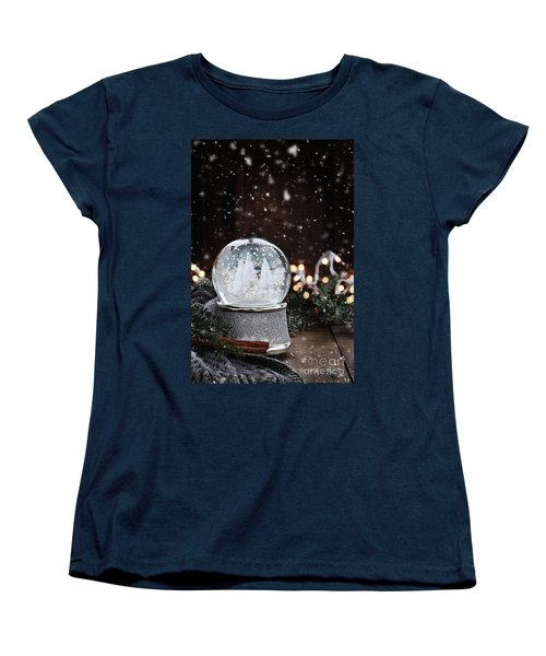 Silver Snow Globe Women's T-Shirt (Standard Cut) by Stephanie Frey