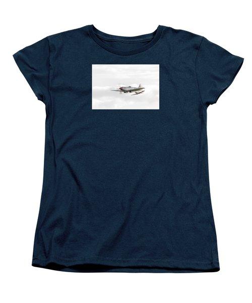 Silver Spitfire In A Cloudy Sky Women's T-Shirt (Standard Cut) by Gary Eason