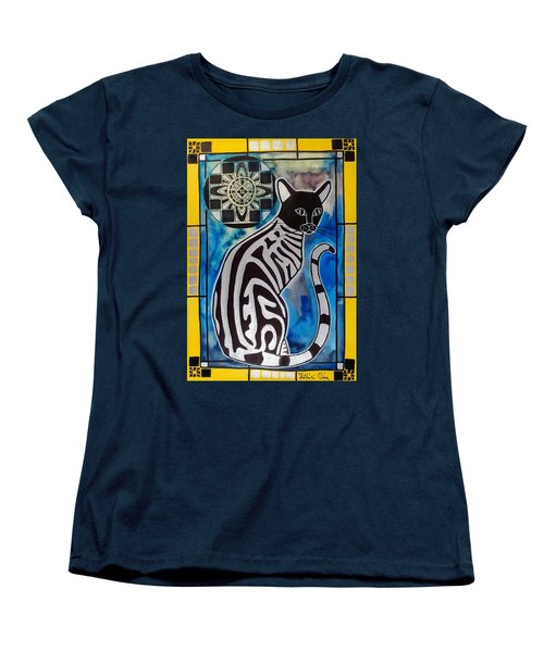 Silver Tabby With Mandala - Cat Art By Dora Hathazi Mendes Women's T-Shirt (Standard Cut) by Dora Hathazi Mendes