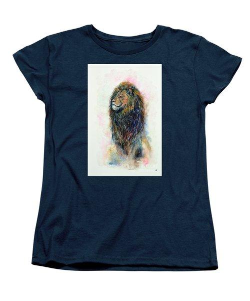 Women's T-Shirt (Standard Cut) featuring the painting Simba by Zaira Dzhaubaeva