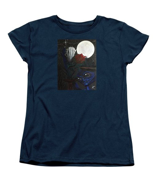 Women's T-Shirt (Standard Cut) featuring the painting Similar Alien Appreciates Flowers By The Light Of The Full Moon. by Similar Alien