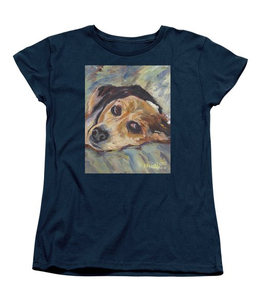Women's T-Shirt (Standard Cut) featuring the painting simonClydemcflyMcCue by Patricia Cleasby