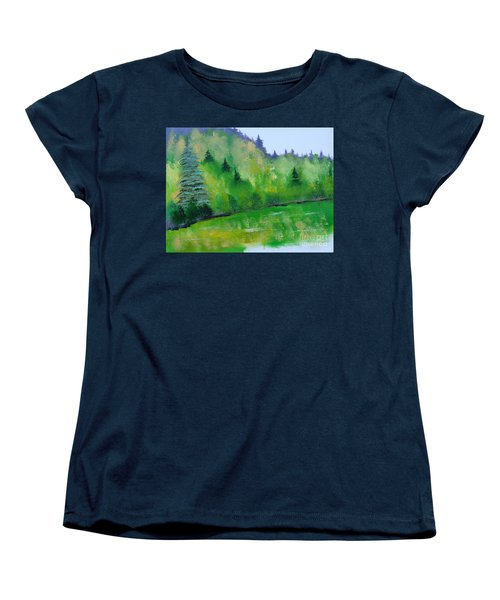 Women's T-Shirt (Standard Cut) featuring the painting Simply Green by Rod Jellison