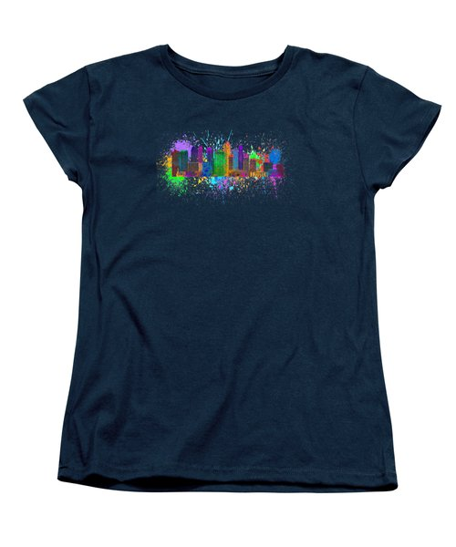 Singapore Skyline Paint Splatter Illustration Women's T-Shirt (Standard Cut) by Jit Lim