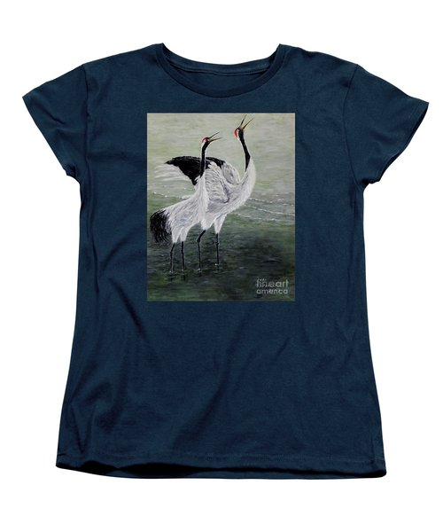 Women's T-Shirt (Standard Cut) featuring the painting Singing Cranes by Judy Kirouac