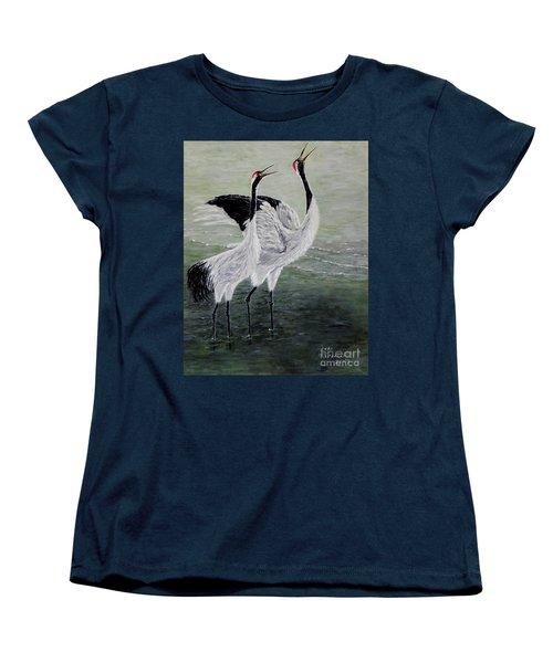 Singing Cranes Women's T-Shirt (Standard Cut) by Judy Kirouac