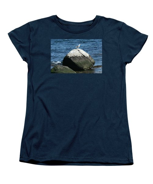 Women's T-Shirt (Standard Cut) featuring the digital art Singing Seagull by Barbara S Nickerson