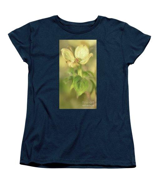 Single Dogwood Blossom In Evening Light Women's T-Shirt (Standard Cut) by Lois Bryan