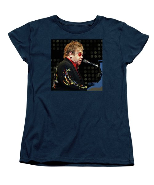 Sir Elton John At The Piano Women's T-Shirt (Standard Cut) by Elaine Plesser