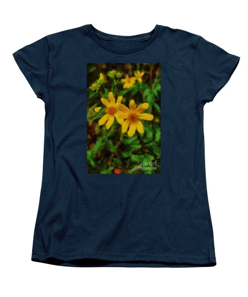 Sixteen Petals  Two Yellow Wildflowers Women's T-Shirt (Standard Cut) by Michael Flood