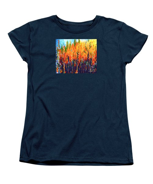 Women's T-Shirt (Standard Cut) featuring the painting Sizzlescape by Holly Carmichael