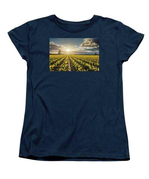 Women's T-Shirt (Standard Cut) featuring the photograph Skagit Daffodils Bright Sunstar Dusk by Mike Reid