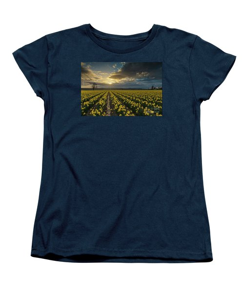 Women's T-Shirt (Standard Cut) featuring the photograph Skagit Daffodils Golden Sunstar Evening by Mike Reid