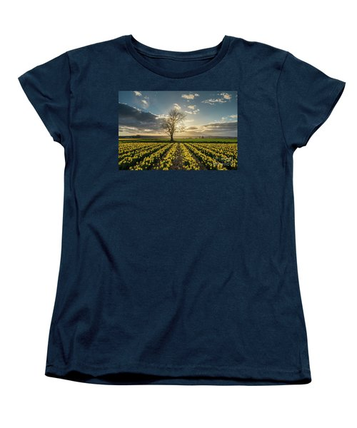 Women's T-Shirt (Standard Cut) featuring the photograph Skagit Daffodils Lone Tree  by Mike Reid