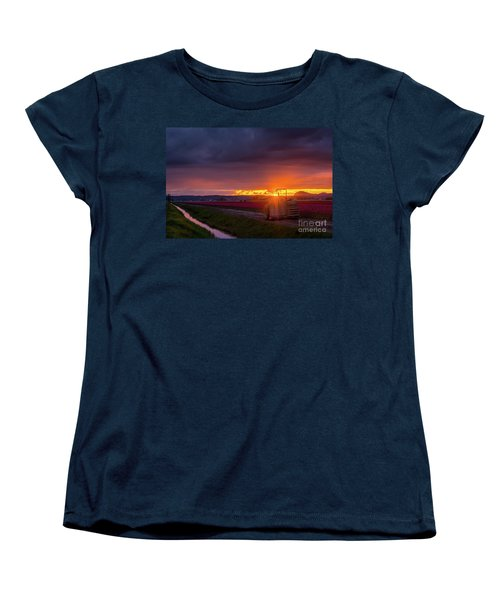 Women's T-Shirt (Standard Cut) featuring the photograph Skagit Valley Tractor Sunstar by Mike Reid