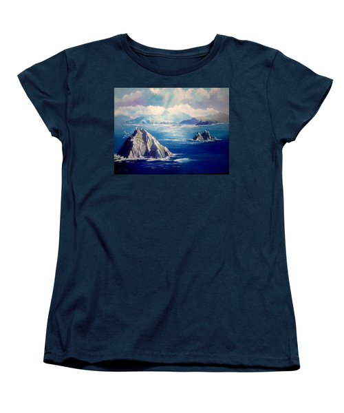 Women's T-Shirt (Standard Cut) featuring the painting Skelligs Ireland by Paul Weerasekera