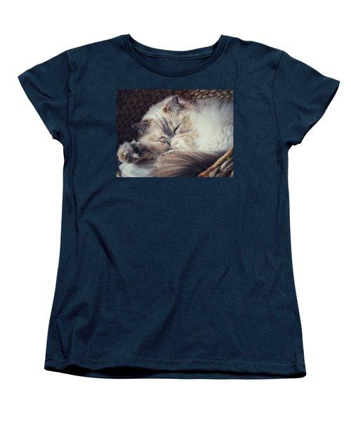 Women's T-Shirt (Standard Cut) featuring the photograph Sleepy Kitty by Karen Stahlros
