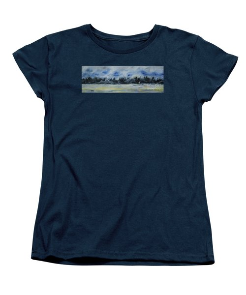 Women's T-Shirt (Standard Cut) featuring the painting Slow Sail Home by Cynthia Lagoudakis