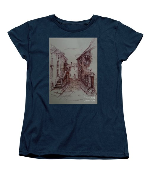 Small Town Drawing Women's T-Shirt (Standard Cut)