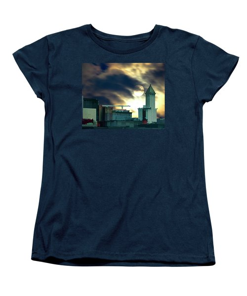Women's T-Shirt (Standard Cut) featuring the photograph Smithtower Moon by Dale Stillman