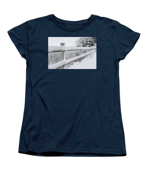 Snow Covered Fence Women's T-Shirt (Standard Cut) by Helen Northcott