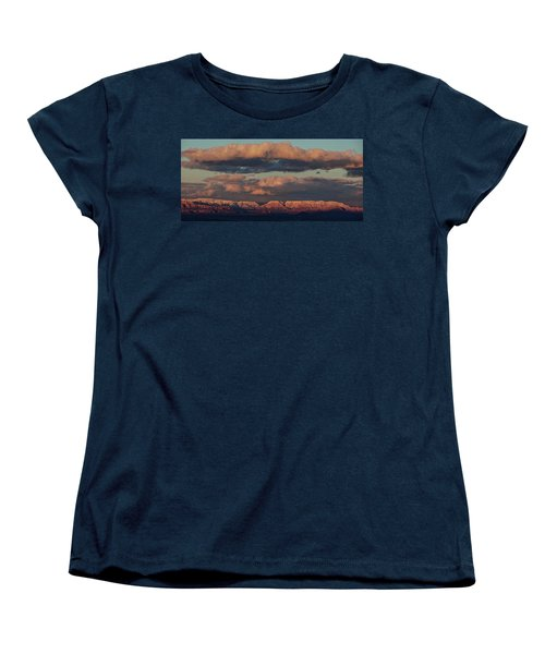 Women's T-Shirt (Standard Cut) featuring the photograph Snow Covered Red Rock Panorama by Ron Chilston