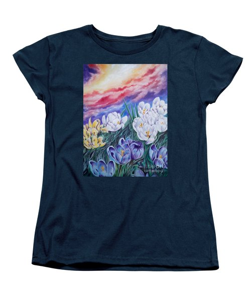 Women's T-Shirt (Standard Cut) featuring the painting Snow Crocus by Sigrid Tune