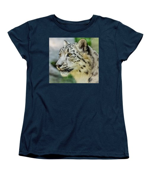 Snow Leopard Portrait Women's T-Shirt (Standard Cut) by Yeates Photography