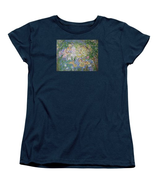 Women's T-Shirt (Standard Cut) featuring the painting Snowdrop The Fairy And Friends by Judith Desrosiers