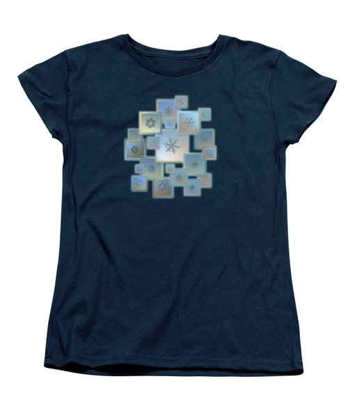 Snowflake Collage - Bright Crystals 2012-2014 Women's T-Shirt (Standard Cut) by Alexey Kljatov