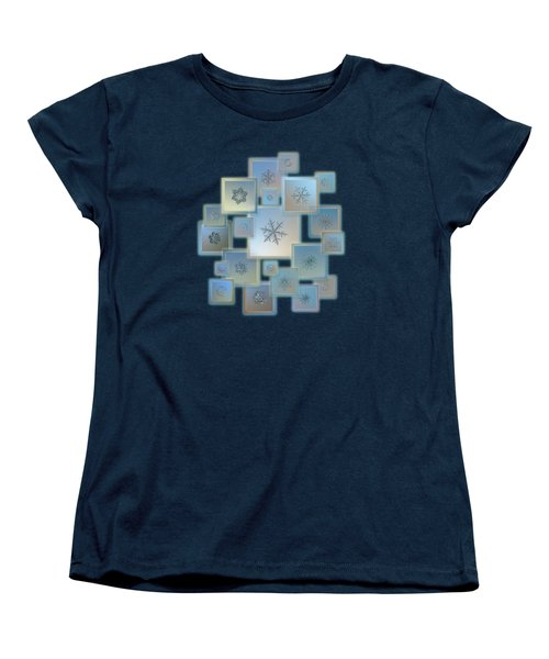 Women's T-Shirt (Standard Cut) featuring the photograph Snowflake Collage - Bright Crystals 2012-2014 by Alexey Kljatov
