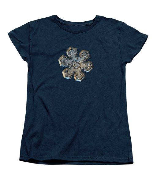 Women's T-Shirt (Standard Cut) featuring the photograph Snowflake Photo - Massive Gold by Alexey Kljatov